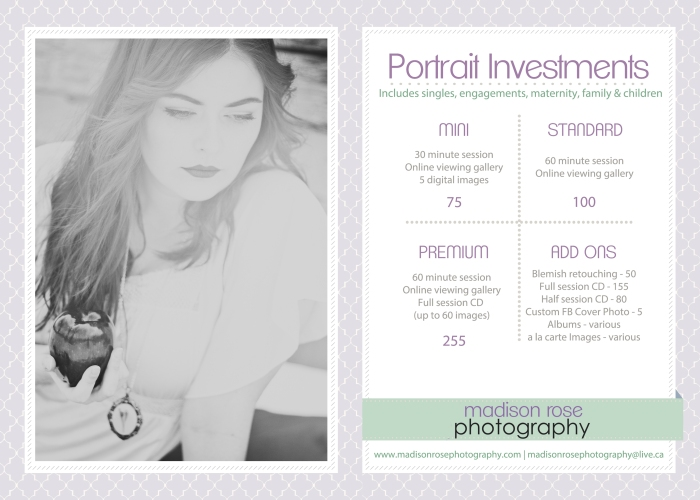 Madison Rose Photography Portrait Investments